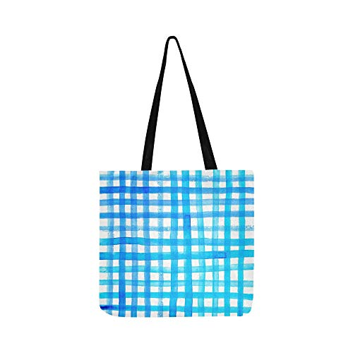 Blaue abstrakte lauten Kanten gemalt Gingham Canvas Tote Handtasche Schultertasche Crossbody Taschen Geldbörsen für Männer und Frauen Einkaufstasche -