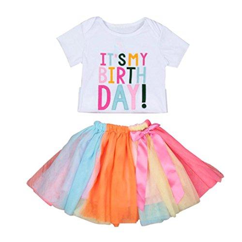 Hunpta Baby Mädchen Geburtstag Stickerei T-Shirt und Regenbogen Tutu Rock Set Outfits Kleidung (95CM, Weiß) (Baumwoll-t-shirt Und 1)