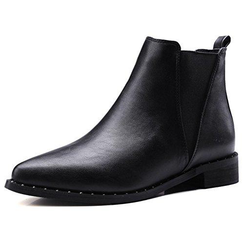 COOLCEPT Damen einfache elegante westliche flache Schuhe Datierung Knöchel  Stiefel Beiläufige Chelsea Stiefel Schwarz 711186ec5f