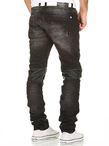 Redbridge by Cipo & Baxx Biker Jeans Herren Denim Hose Slim Fit Clubwear Vintage Destroyed Look Used Schwarz