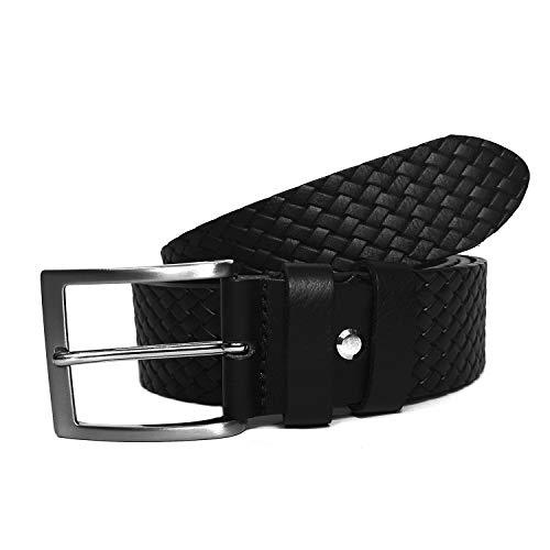 MixYourBeauty MYB - Cinturón para hombre 100% de piel auténtica - Fabricado en Italia - Sin costuras - Varios colores y tamaños *New* Nero2 115/130 cm