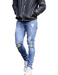 Hombres Pantalones, Manadlian Hombres Pantalones vaqueros Estiramiento Super Skinny Pantalones ajustados Destruido Grabado (M