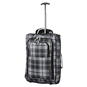 Wheeled Ryanair Cabin Approved Flight Hand Luggage Travel Trolley Suitcase Bag Chekered Grey