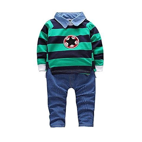 Famille Bébés Garçons Vêtements, 2 Pcs T-shirt Tops + Pants Set (2-3 Ans, Vert)