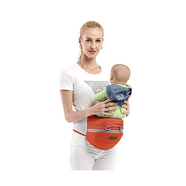 SONARIN 3 in 1 Multifunction Hipseat Baby Carrier,Ergonomic,Mummy Bag,100% Cotton,Breathable mesh Backing,Adapted to Your Child's Growing,Cozy & Soothing for Babies,Ideal Gift(Orange) SONARIN Applicable age and Weight:0-36 months of baby, the maximum load: 36KG, and adjustable the waist size can be up to 45.3 inches (about 115cm). Material:designers carefully selected soft and delicate 100% cotton fabric. Resistant to wash, do not fade, External use of 3D breathable mesh,15mm soft cushion,to the baby comfortable and safe experience. 30mm sponge filled, effectively relieve mother's abdominal pressure. Description:patented design of the auxiliary spine micro-C structure and leg opening design, natural M-type sitting. Removable backplane, hold the baby back, perfect support horizontal hold.The baby carrier and the hipseat junction have a protective pad,intimate design, so that your baby more comfortable. 3