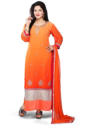 Utsav Fashion Embroidered Georgette Straight Cut Suit in Ombre Orange Colour