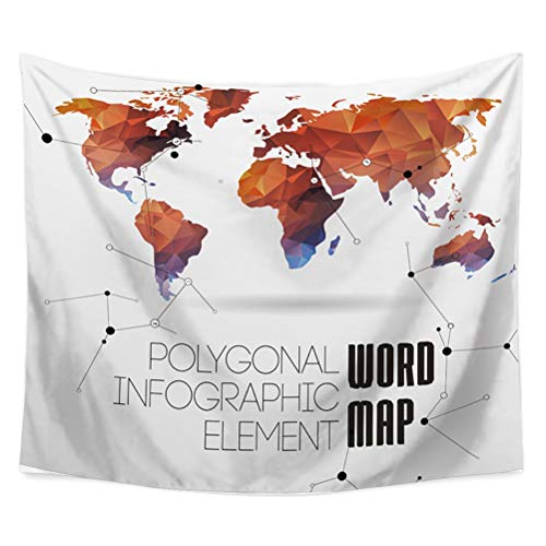 Zgmwxw@ arazzo da muro in stile, bohemien e hippy, mappa del mondo, decorazione da parete, utilizzabile anche come coperta da letto, dimensioni: 200 x 150 cm