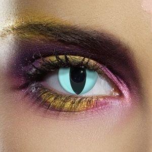 Set Aqua Katzen Kontaktlinsen (1 paar, zwei linsen) | Blaue Katzenaugen | Perfekt für Halloween oder Karneval | (Kontaktlinsen Katze)