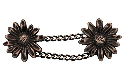 entzückende messing bronze Knöpfe Knopf mit Kette Kettenknöpfe Blume Blüte 20mm, Kette ca.50mm Trachtenjacke Verschluss Jacke