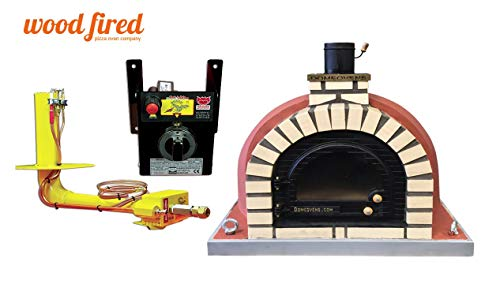 Brick Red Tudor Wood Fired Pizza Oven, Cast Iron Glass Door, Double Insulation, with gas burner, 140cm x 140cm