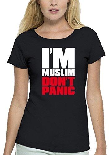 Premium Damen T-Shirt aus Bio Baumwolle I'M MUSLIM RED Marke Stanley Stella Black