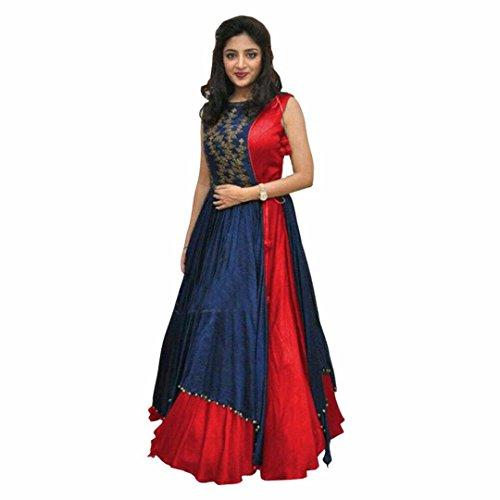 Women's Free Size Indo Western Dress color red ( Indo Westerns_Taffeta Silk_Free...