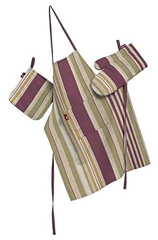 Dekoria Küchenset: Schürze, Handschuh, Topflappen Husse Set olive-violett-beige
