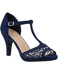 Stiefelparadies Damen Riemchensandaletten Strass Sandaletten Stilettos High Heels Party Schuhe Glitzer Lack Mid Heel Sandalen Flandell