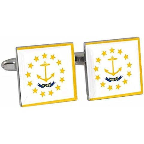 Rhode Island, motivo: bandiera US stato Cuff-Daddy-Gemelli in confezione regalo