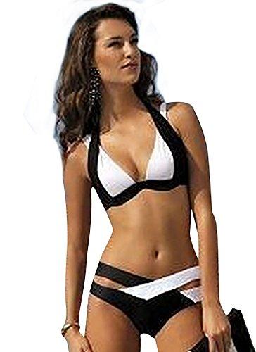 YAANCUN Donne Collo Halter Sport Push-Up Reggiseno Imbottito Costume Da Bagno Beachwear Triangolo Backless Bikini S