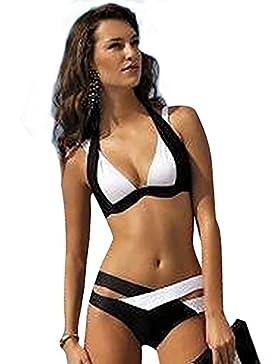 d38da9b0487a YAANCUN Donne Collo Halter Sport Push-Up Reggiseno Imbottito Costume Da  Bagno Beachwear Triangolo Backless