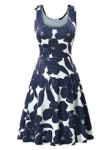 Hem Midi Skirt (MSBASIC Frau ist eine Linie Sleeveless Blumensommerkleid, Marineblau, L)