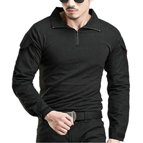Camicia militare da uomo cotone airsoft outdoor shirt (nero, eu m)