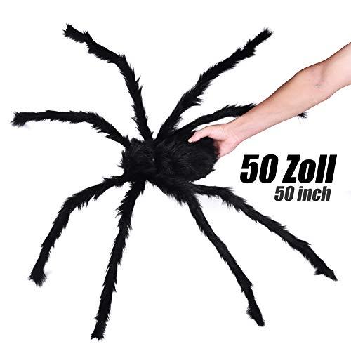 Lionsoul Halloween Spinne, Giant Spinne Große Spinne Haunted House Prop Plüsch Spinne Roten Augen Haarige Spinne Kleine Plastik Spinne für Halloween Dekoration (50 Zoll Große Spinne)