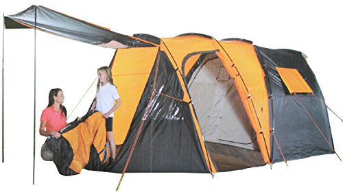 Royalbeach Tunnelzelt 4 Personen Zelt Wasserdicht 4000mm Wassersäule 500x300x195cm Camping Outdoor Familienzelt Höhe 195cm Gruppenzelt Campingzelt Grau/Orange