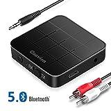 Oacvien Transmetteur Bluetooth 5.0, Récepteur et Émetteur Blutooth 2-en-1 Mini Adaptateur Bluetooth Sortie Stéréo RCA & 3.5mm, Faible Latence, aptX, pour Voiture/TV/PC/système Audio
