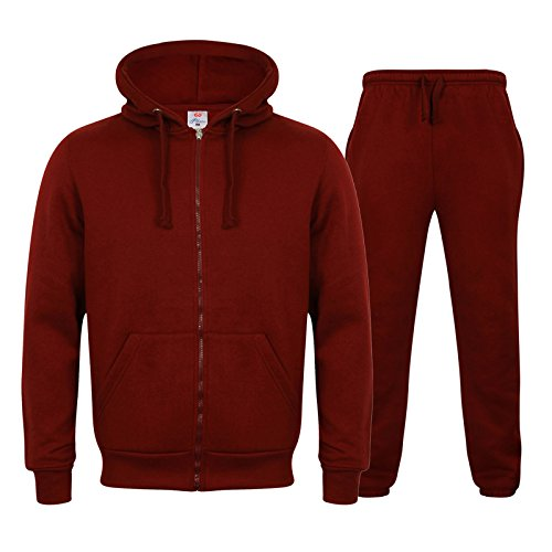 Herren Trainingsanzug Full Fleece Uni Trainingsanzug Zip Up Hoodie Jogginghose Fleece Best Suit Gr. Small, burgunderfarben - Beste Jogginghose