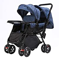 Heay Jogging Stroller, Double Toddler Baby Pram,Folding City Baby Pushchair With 2-Panel Canopy,Compact Urban Carriage With Adjustable Backrest (Color : Blue)
