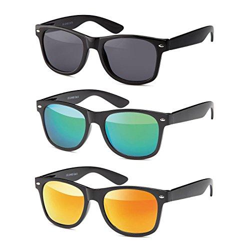 MOKIES Unisex Sonnenbrillen - UV400 Filterkategorie 3 CE Kennzeichnung - Wayfarer Design - Polycarbonat - mit Federscharnier - A-SET Grau, Grün, Rot