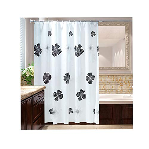 KnSam Duschvorhang mit 12 Vorhanghaken Schwarz Blume 3D -