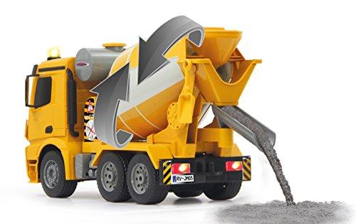 RC Auto kaufen LKW Bild 3: Jamara 404930 - Betonmischer Mercedes Arocs 1:20 2,4GHz – rechts / links drehende Mischtrommel mit Entladefunktion, realistischer Motorsound,Hupe,Rückfahrwarnsound,4 Radantrieb,gelbe LED Signallichter*