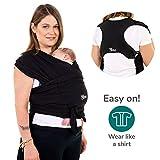 Koala Babycare® Une écharpe de portage facile à enfiler, réglable, unisex | Porte-bébé multifonctionnel pour les bébés jusqu'à 15 kg |Écharpe de portage - Noir - Design Enregistré KBC®