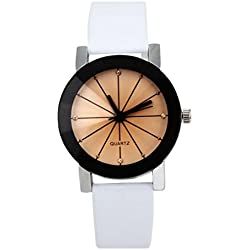 OverDose Women Convex Quartz Dial Clock Leather Wrist Watch