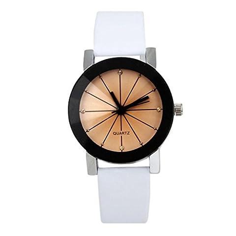 OverDose Women Convex Quartz Dial Clock Leather Wrist Watch