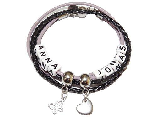 ARTemlos® Handmade Damen-Armband (5-16) mit Name, zum Wickeln, aus Edelstahl und Leder in schwarz/Flieder