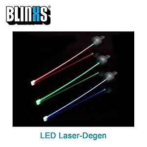 BLINXS LED Laser-Degen / -Rapier/ -Florett - flexibel DREI Blinkmodis - 72 cm...