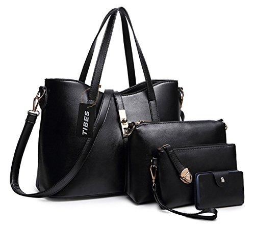 Tibes delle donne di modo del sacchetto di cuoio della borsa + spalla dell'unità di elaborazione + borsa + del supporto di carta 4pcs impostati Nero