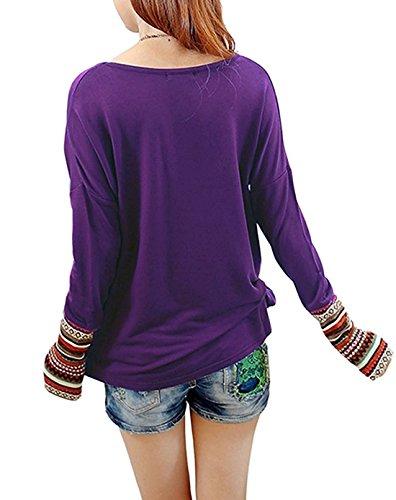ASCHOEN Damen Rundhals Mehrfärblich Gestreift T-Shirt Oberteile Langarmshirt Loose Bluse Tops Violett