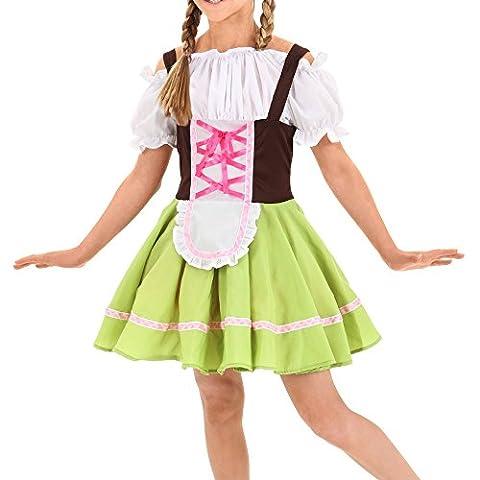 Kinder Dirndl, Canvalite Mädchen Oktoberfest Einteilig Dirndl - Trachtenkleid, Bluse, Schürze XL (Kellnerin Kostüm Kind)