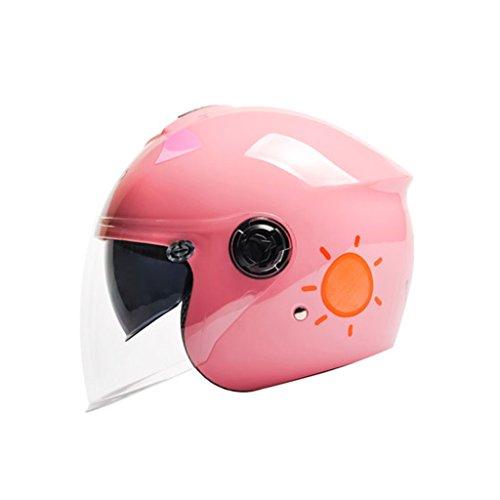 Cascos de motocross Casco de niños Casco de moto eléctrica Casco de niño de niña Cuatro estaciones Casco de historieta lindo Casco de niño duro Casco (Color : Pink-B-One size)