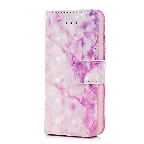 MAXFE.CO Lederhülle Case Schutz für iPhone 5 SE PU + TPU Innere Etui Schale Brieftasche Marmor 3D Design Flip Cover mit Kartenslots Magnetverschluß Standfunktion Schwarz Purple