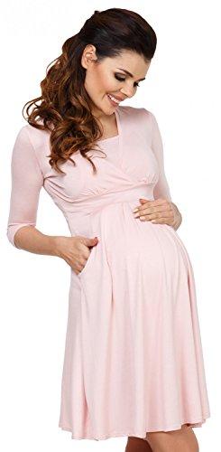 Zeta Ville - Damen Kleid Diskretes Stillen Taschen Skaterkleid Schwangere - 784c Pulver Rosa