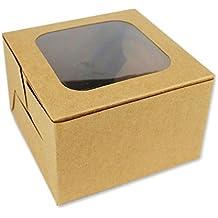 132126 - Set de 12 cajas de cartón kraft liso, con parte superior transparente,