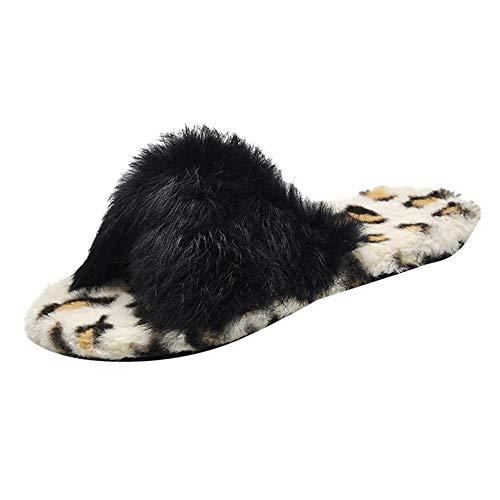 Hausschuhe Damen Winter Plüsch Stiefel DOLDOA Innen Leopard Pantoffeln Slipper
