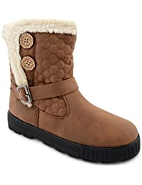 Womens Ladies Quilted Faux Fur Lined Thick Sole Mid Calf Ankle Boots Girls Shoes UK Sizes
