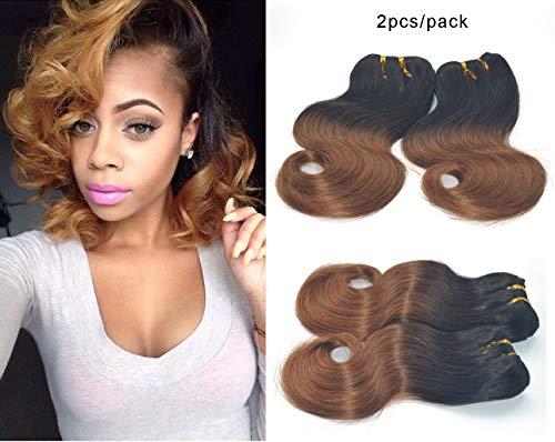 Greemeo Brazilian Body Wave Virgin Hair 4 Bundles 100% Real Remy Human Hair Brasilianisches Gewellt Echthaarbündel Kurze Weave 200 gramm pro packung (50 gramm pro bundle) (8 8 8 8 zoll, 1b/30) (Remy-haar-erweiterungen Nähen)