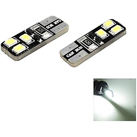 FULLModerna auto T10 1W 6x2835 SMD LED 70lm 6000K Cool White Dome Marker laterale DC 12V, 2-Pack