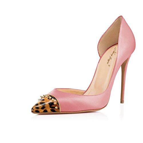 NANCY JAYJII - Femmes - Stiletto - Cuir brillant véritable - Rivets - Plusieurs coloris - Talon aiguille - Bout pointu fermé Rose bout Léopard