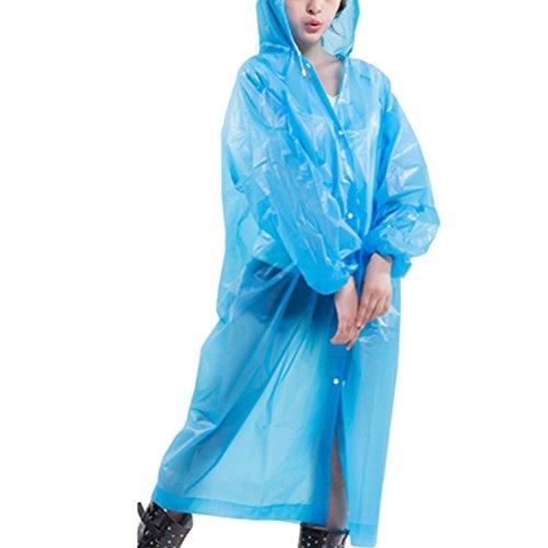 Zhhlaixing Womens Slim Portable Waterproof EVA Hooded Rain Poncho Raincoat 80522 Blue