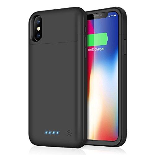 Cover batteria iphone x, 5200mah custodia cover protettiva con batteria esterna integrata ricaricabile power bank backup battery charger case per iphone x/10-5.8''